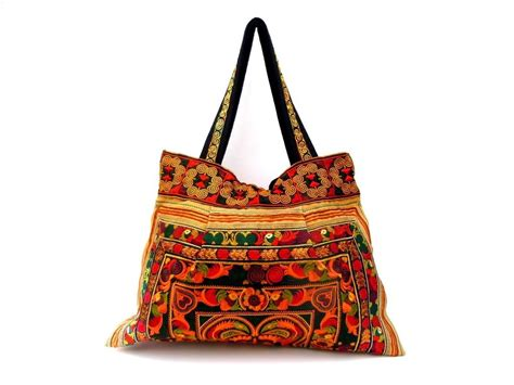 Handmade Purses Bags - large embroidered handmade hmong tote bag purse thailand
