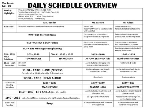 special education schedule template the bender bunch special education lesson plans