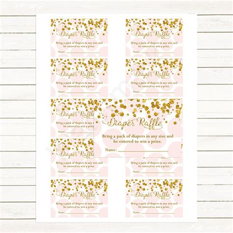 free printable diaper raffle tickets pink pink gold baby shower diaper raffle tickets confetti and