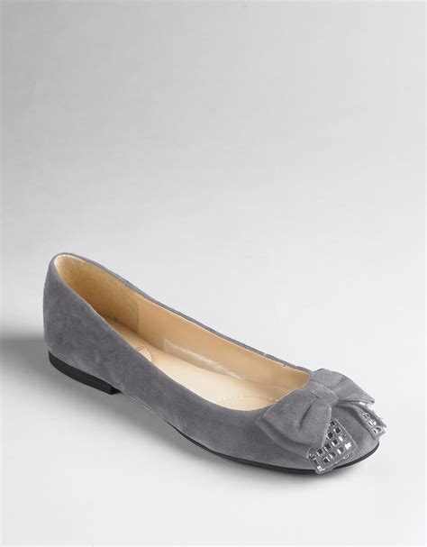 enzo shoes flats enzo angiolini cuse ballet flats in gray grey suede lyst
