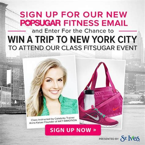 Fitness Sweepstakes - pop sugar fitness sweepstakes win a trip to new york city