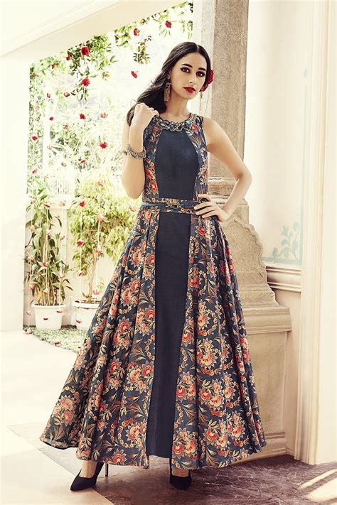design dress pinterest picture of a mesmerizing black indo western anarkali suit
