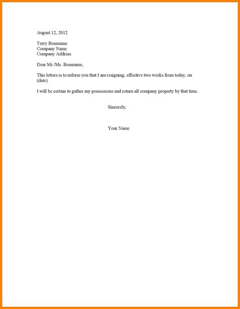2 week letter of resignation 14 2 week notice letter