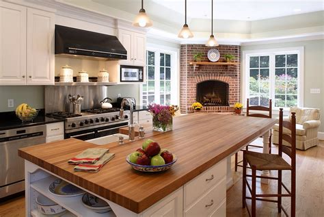 traditional kitchen with a beautiful corner fireplace