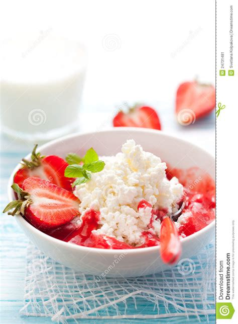 Cottage Cheese Strawberry by Cottage Cheese With Strawberry Stock Image Image 24731481