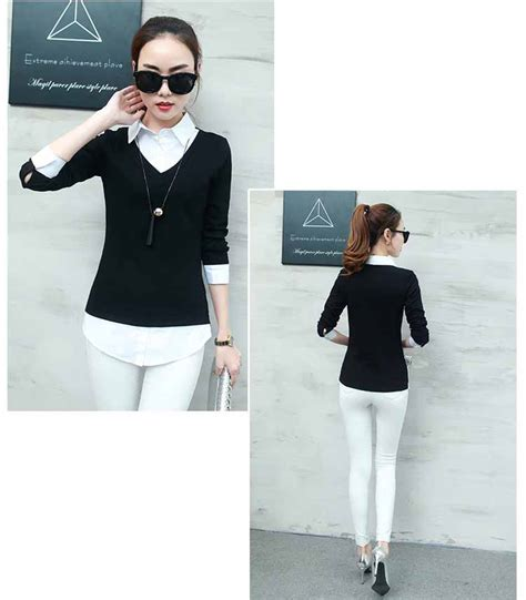 Blouse Trendy Bahan Cotton Hitam Putih baju atasan simple hitam putih trendy model terbaru