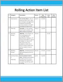 Action Items List Template Rolling Action Item List Template Format Template