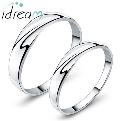 simple wave promise rings for couples personalized