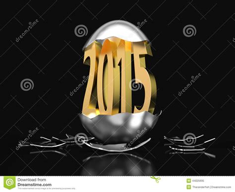 new year egg golden 2015 hatches out of an egg stock illustration