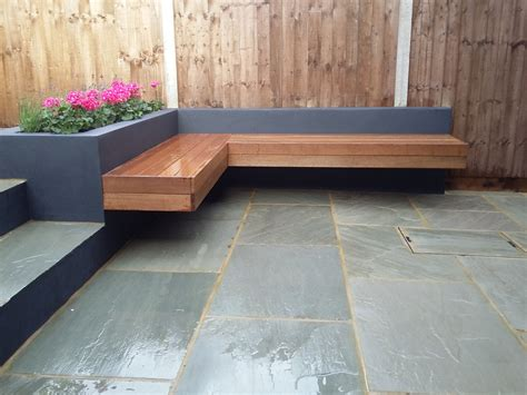 patio block bench modern garden design london natural sandstone paving patio
