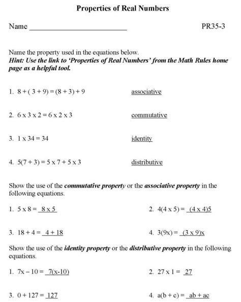Listings Real Property Solutions Of Bluebonkers Free Printable Math Properties Of Real