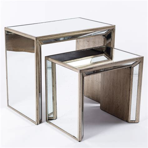 Mirrored Side Table Silver Mirrored Nesting Side Tables Acento