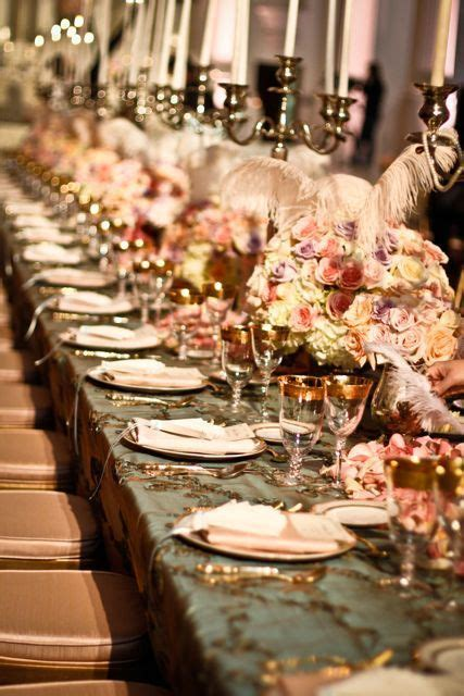 wonderful patterned tablecloth and soft tone flowers understated and wedding tablescape