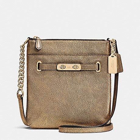 Coach Swagger In Metallic Pebble Leather 2016 coach f36502 coach swagger swingpack in metallic pebble leather light gold gold coach