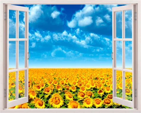 vinilo  ventana campo de girasoles teleadhesivocom