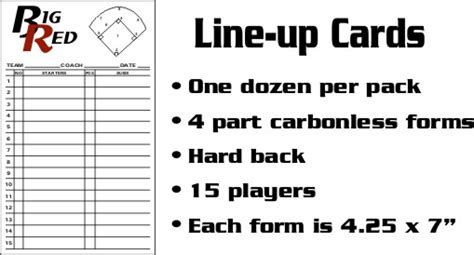 line up cards for baseball softball and volleyball