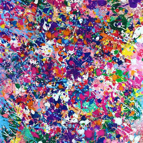 colorful painting abstract canvas art splatter painting colorful by resemblesme