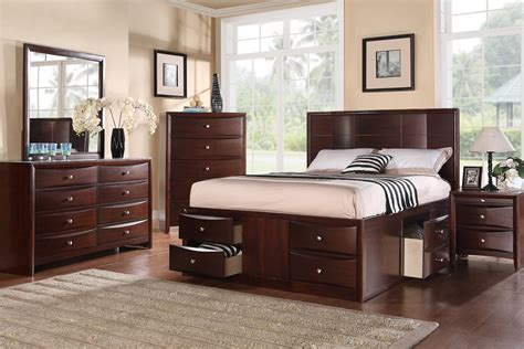 bed with drawers queen espresso finish solid wood platform bed frame with under bed drawers