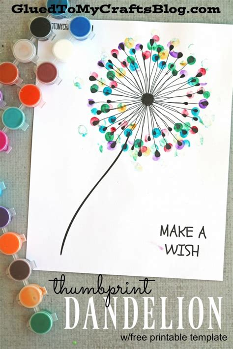 free crafts to make thumbprint dandelion kid craft w free printable glued