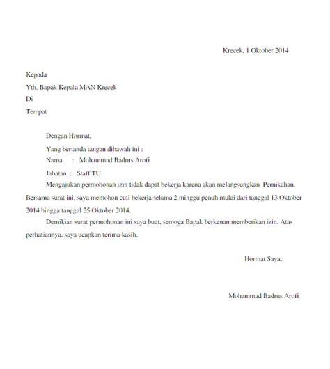 contoh surat izin cuti menikah untuk karyawan