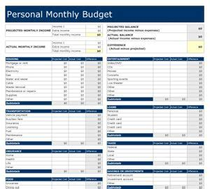 editable excel money management monthly budget