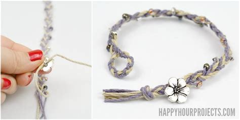 DIY Beaded Button Clasp Hemp Bracelets   Happy Hour Projects