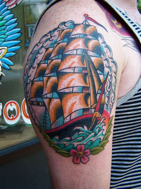 traditional pirate ship tattoo neo traditional pirate ship