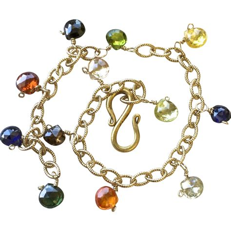 gold filled charms jewelry rainbow charm bracelet 14k gold filled cz charms c