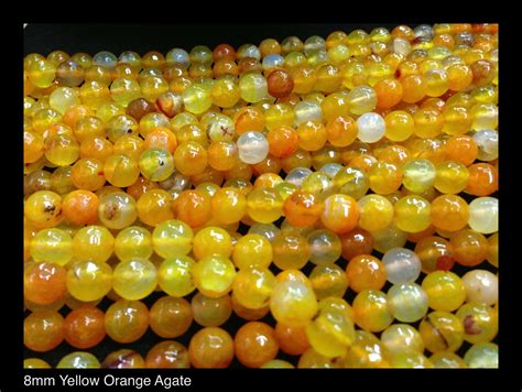 Sew Your Own Curtains Orange Yellow Agate 8mm 96 Cut Faceted 183 Beadshines