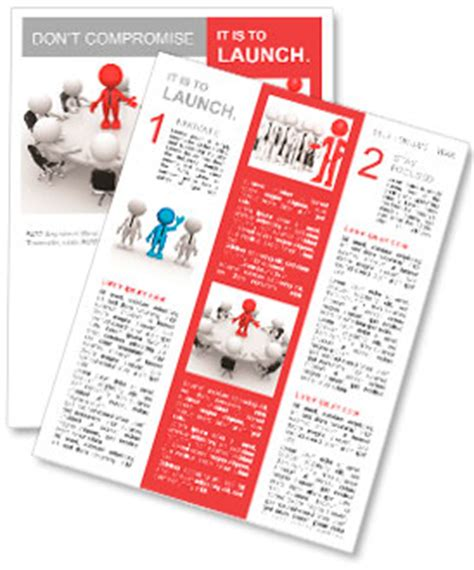team newsletter template 3d person at conference table leadership