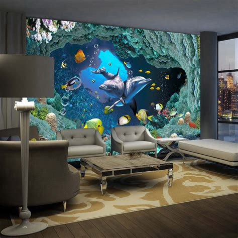 3d Wall Designs Bedroom Aliexpress Buy 3d Underwater World Wallpaper Custom Wall Mural Dolphin Photo
