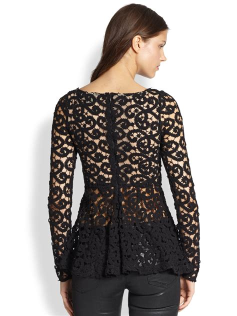 Blouse Brokat Pepplum 2 catherine malandrino lace peplum blouse in black lyst