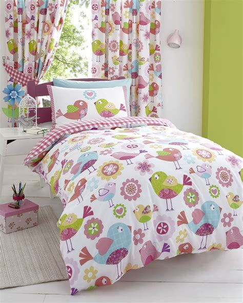 bird bedding tweet bird pink kids girls reversible single duvet quilt cover bedding set ebay