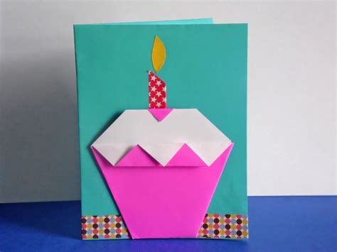 Origami Birthday Card - how to make an origami cupcake birthday card easy