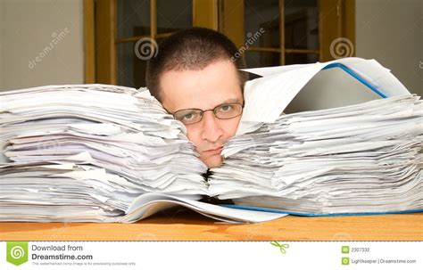 Online Paper Work From Home - too much paperwork stock photography image 2307332