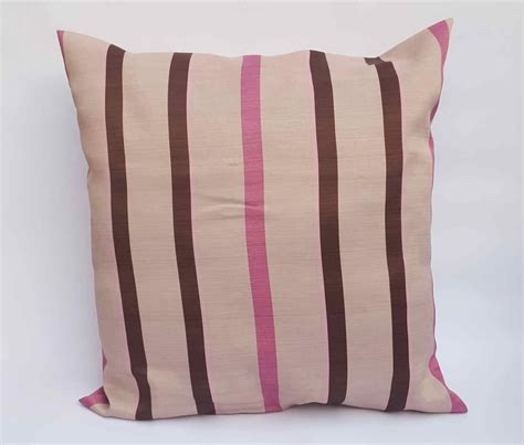 Handmade Soft Furnishings - pink and brown striped cushion on beige handmade soft