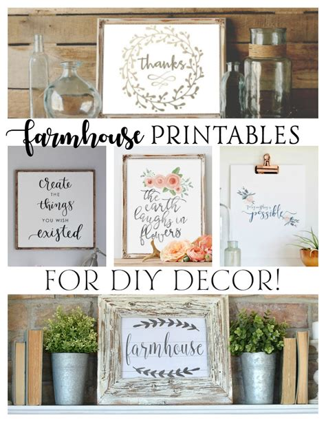diy printable home decor free farmhouse printables for diy decor rustic