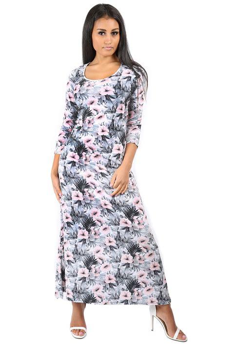 maxi swing dress womens evening maxi dress ladies swing dress 3 4 sleeve
