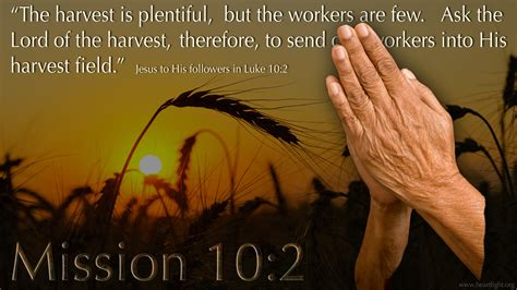 the harvest is plentiful but the workers are few luke 10 2 pray for workers heartlight 174 gallery