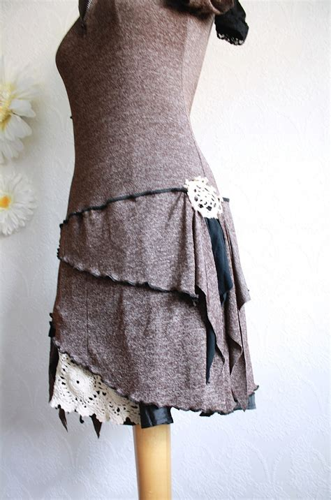 upcycling dresses brown hooded dress upcycled clothing black bell sleeves