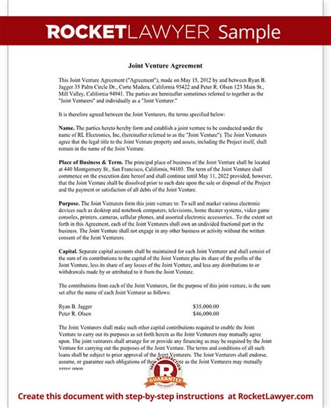 Joint Agreement Letter Joint Venture Agreement Template Joint Venture Contract With Sle