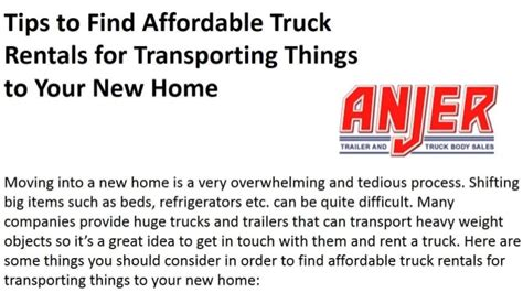 things to buy for a new house tips to find affordable truck rentals for transporting