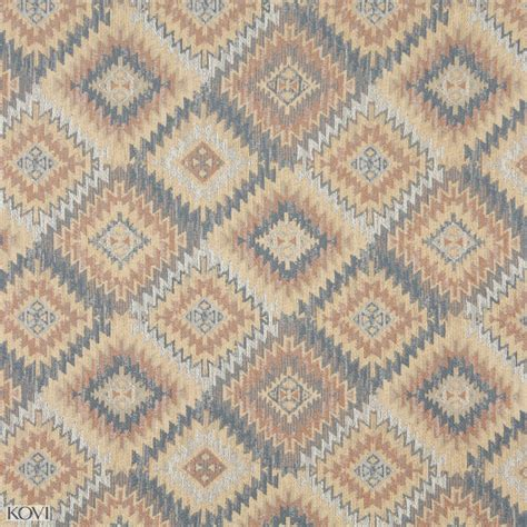 Navajo Upholstery Fabric Beige And Coral Brown Light Navajo Southwestern Abstract