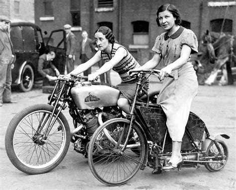 ladies motorbike cool girls riding their motorbikes vintage pre war photos