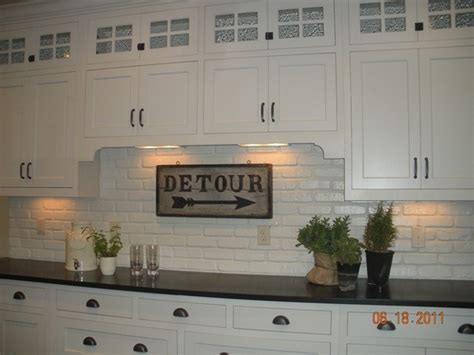 painted brick backsplash for the kitchen