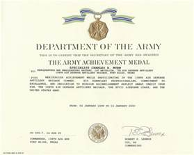 army achievement medal certificate template army certificate of achievement template masir