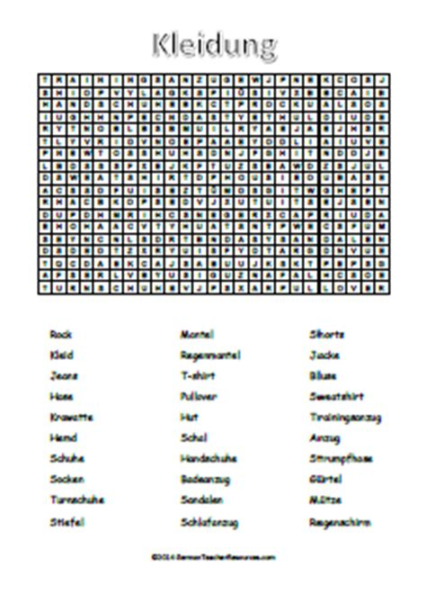 Search Germany German Clothes Wordsearch German Resources