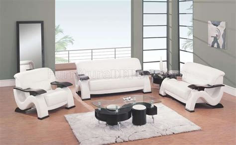 Modern White Leather Living Room Sofa W Cappuccino Finish Arms White Leather Chairs For Living Room