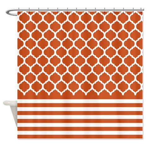 burnt orange shower curtain set quatrefoil and striped shower curtain burnt orange and
