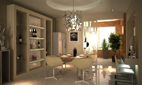 3d dining room refrigerator and wine cabinet